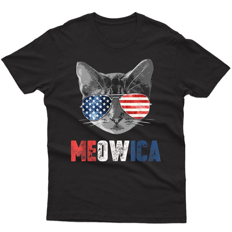4th Of July Shirt Meowica American Flag Cat T-shirt