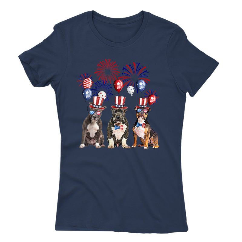 American Bully Firework Sunglasses America Dog 4th Of July T-shirt