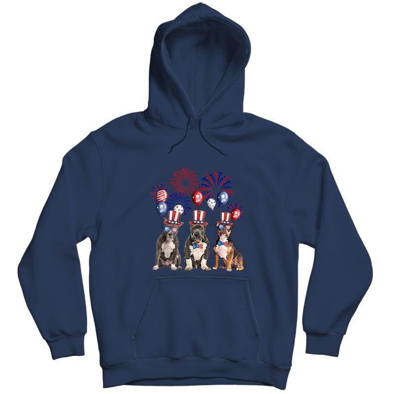 American Bully Firework Sunglasses America Dog 4th Of July T-shirt Unisex Pullover Hoodie