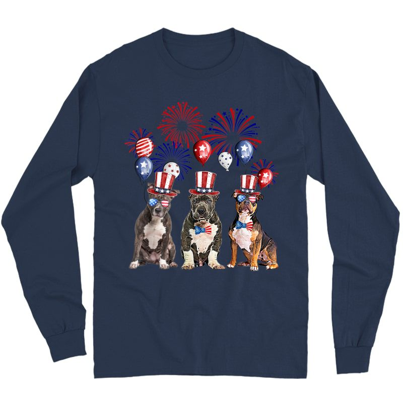 American Bully Firework Sunglasses America Dog 4th Of July T-shirt Long Sleeve T-shirt