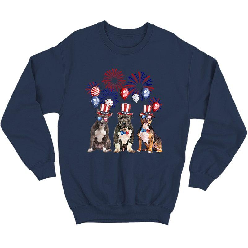 American Bully Firework Sunglasses America Dog 4th Of July T-shirt Crewneck Sweater
