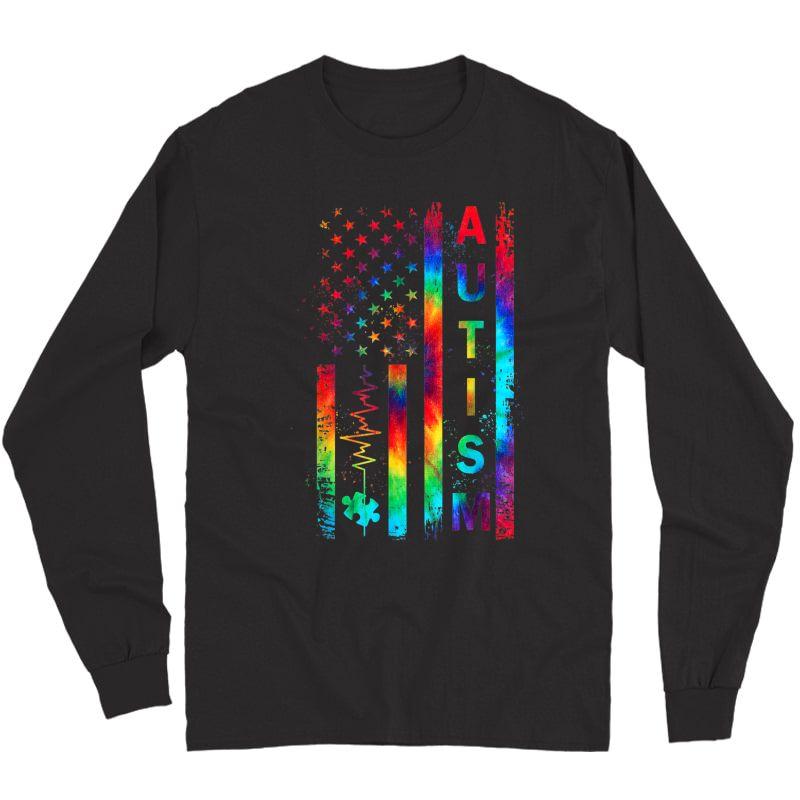 American Flag Autism Awareness Tea Mom Support Tie Dye T-shirt Long Sleeve T-shirt