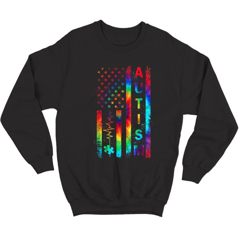 American Flag Autism Awareness Tea Mom Support Tie Dye T-shirt Crewneck Sweater