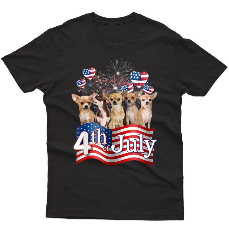 American Flag Chihuahua Dog 4th Of July Patriotic Usa Funny T-shirt