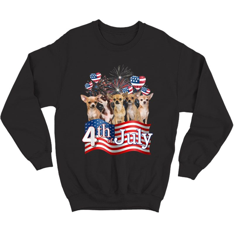 American Flag Chihuahua Dog 4th Of July Patriotic Usa Funny T-shirt Crewneck Sweater