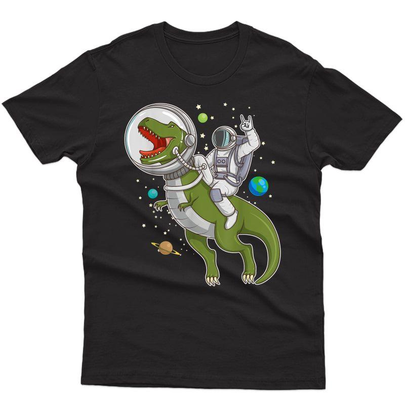 Astronaut Riding T-rex Dinosaur Astro T-rex Space Gift T-shirt