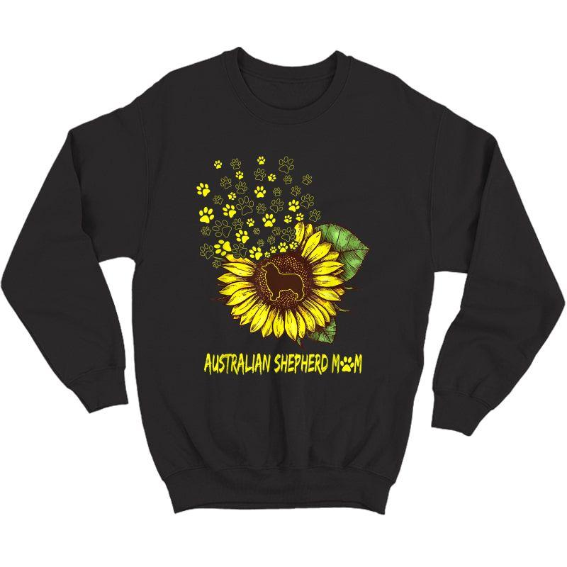 Australian Shepherd Mom Sunflower - Dog Lover T-shirt Crewneck Sweater