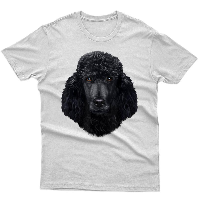 Black Poodle Dog Face - T-shirt