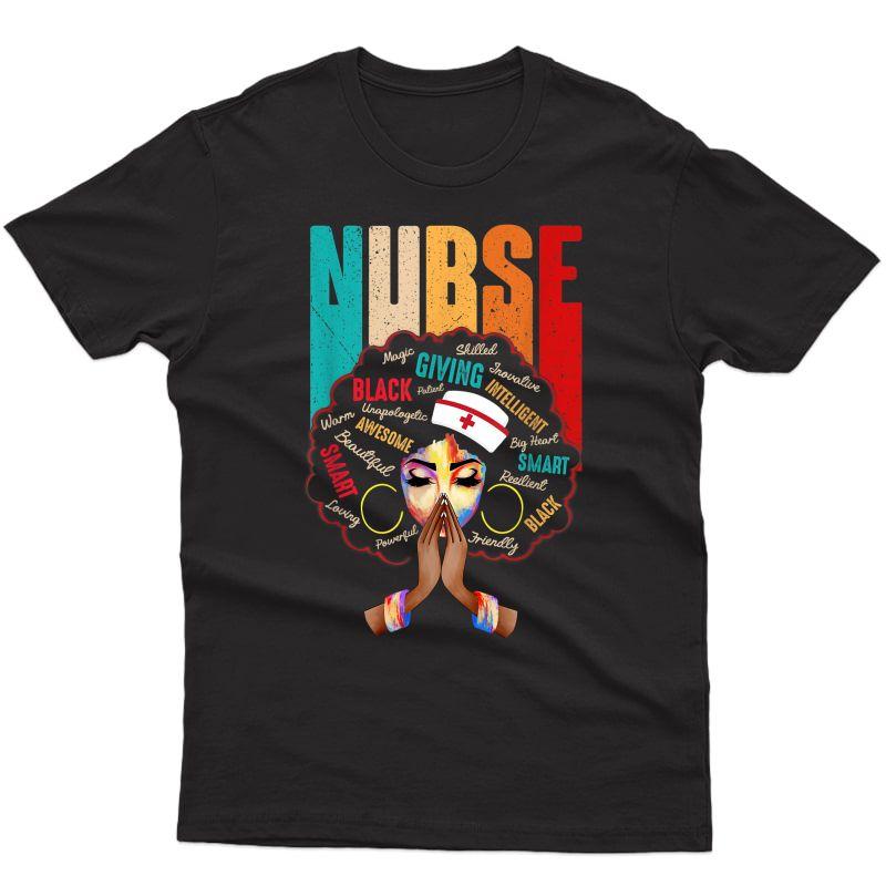 Black Strong Nurse Afro Love Melanin African American T-shirt