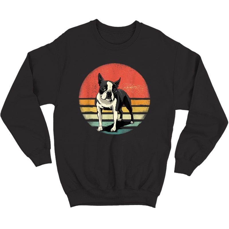 Boston Terrier Dog Lover Retro Vintage 70s Dog Pet T-shirt Crewneck Sweater