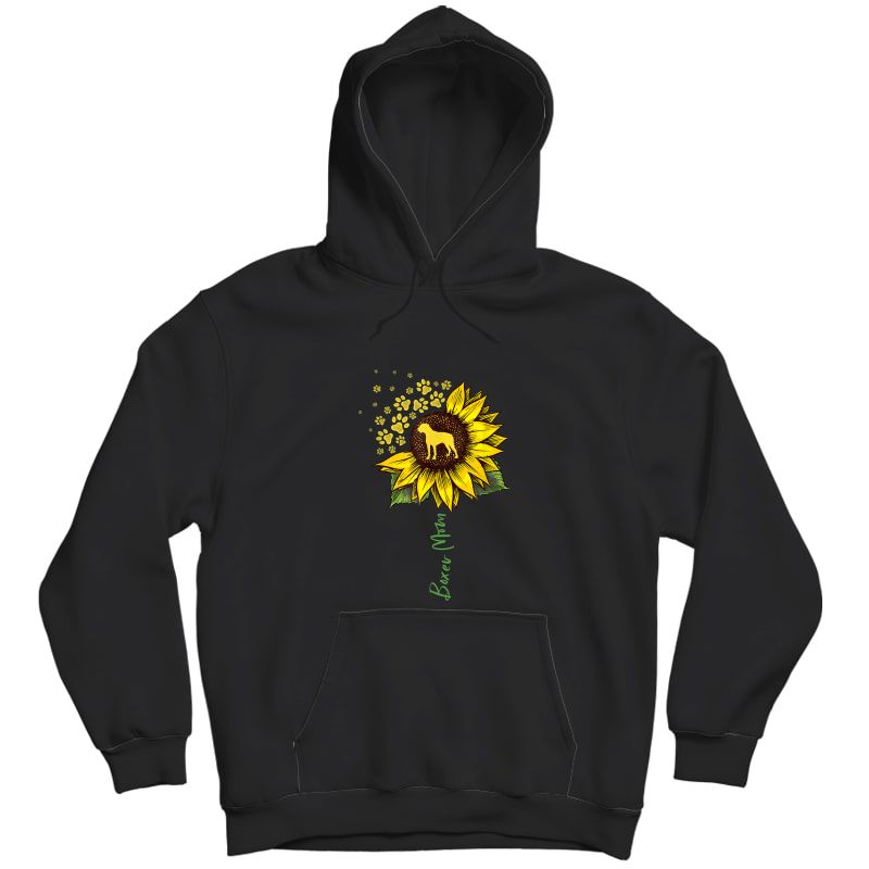 Boxer Mom Sunflower Boxer Dog Gifts Dog Mom Mama T-shirt Unisex Pullover Hoodie