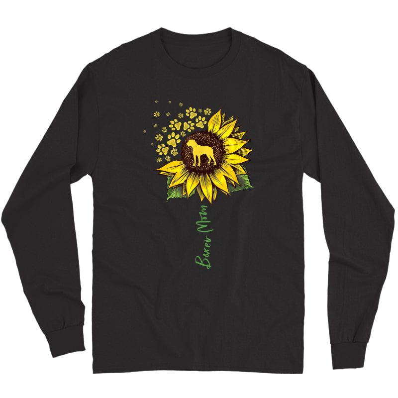 Boxer Mom Sunflower Boxer Dog Gifts Dog Mom Mama T-shirt Long Sleeve T-shirt