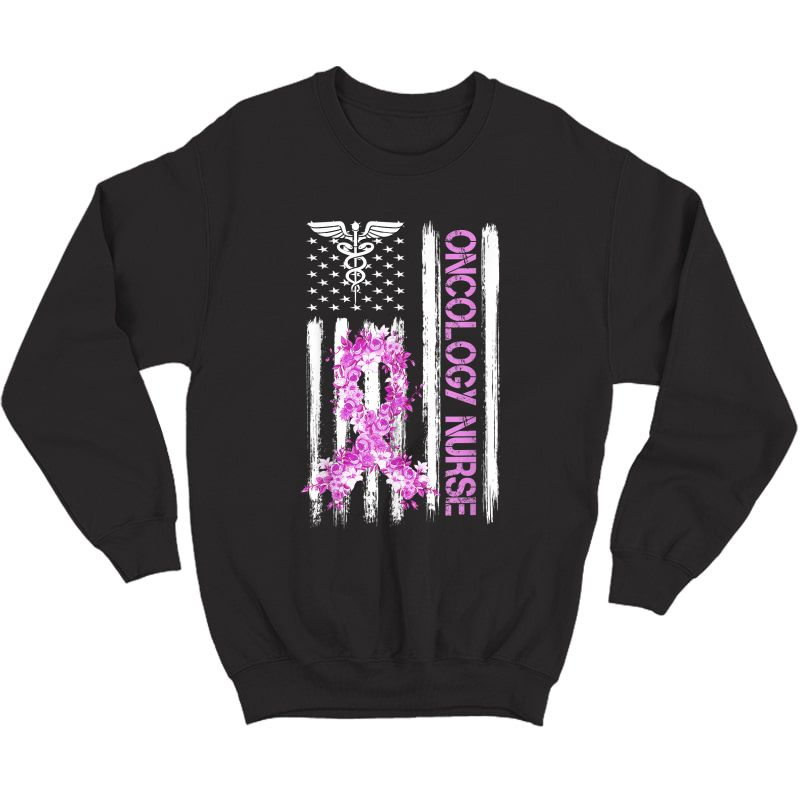 Breast Cancer Oncology Nurse Rn Patriotic American Flag Gift T-shirt Crewneck Sweater