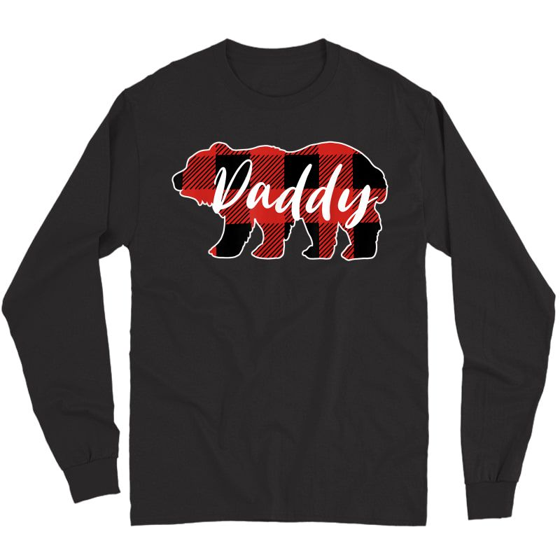 Buffalo Plaid Daddy Bear T-shirt Fathers Day Gifts Long Sleeve T-shirt