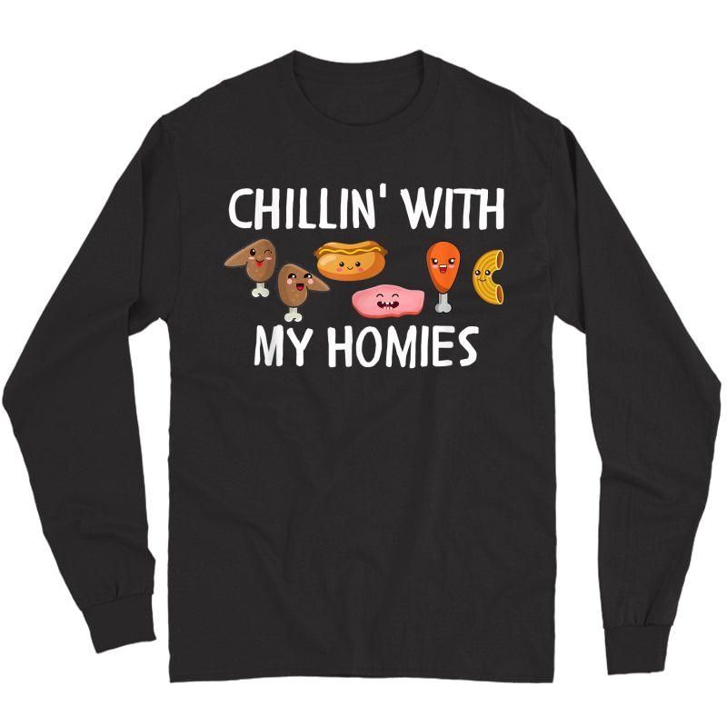 Chicken Wing Hotdog Bologna Chicken Macaroni, Chillin Kawaii T-shirt Long Sleeve T-shirt