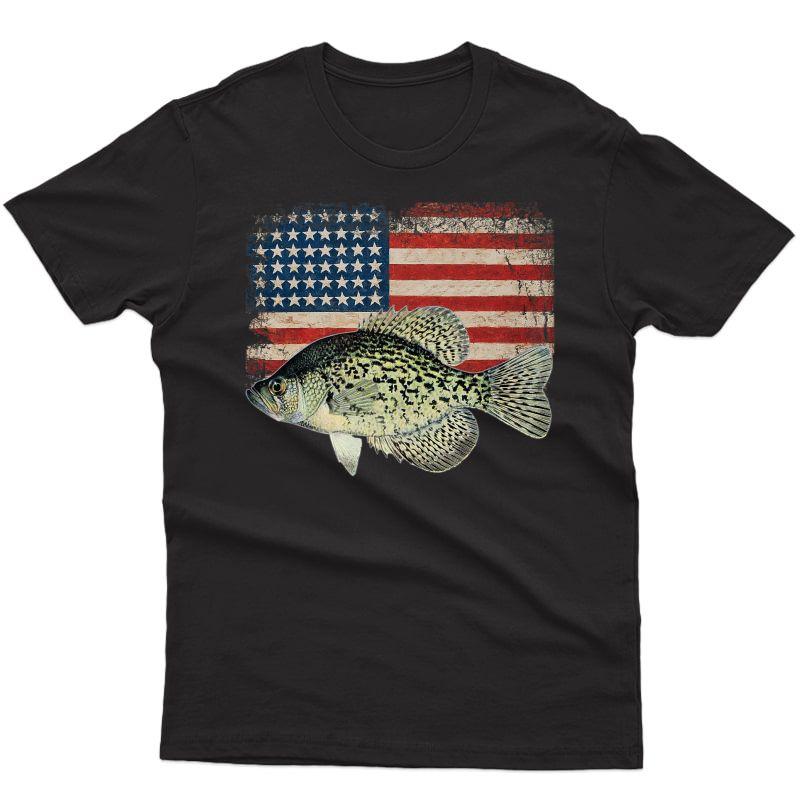 Crappie Fishing American Flag Usa Angler Gift For Fisherman Premium T-shirt