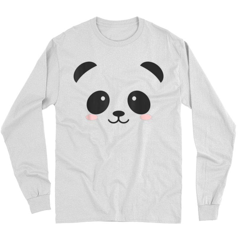 Cute Halloween Panda Bear Face T-shirt Costume Gift T-shirt Long Sleeve T-shirt