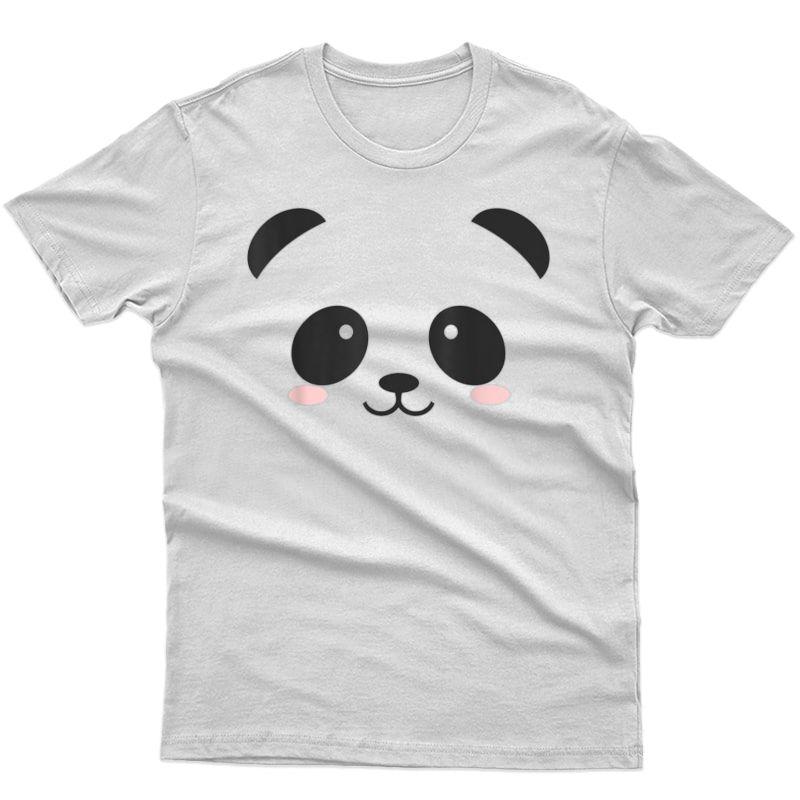 Cute Halloween Panda Bear Face T-shirt Costume Gift T-shirt