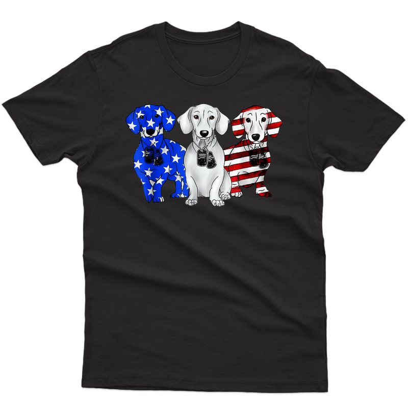 Dachshund Breed Dog America Flag Patriot T Shirt