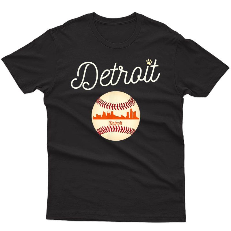 Distressed Tiger Mascot Tshirt Detroit Baseball Skyline