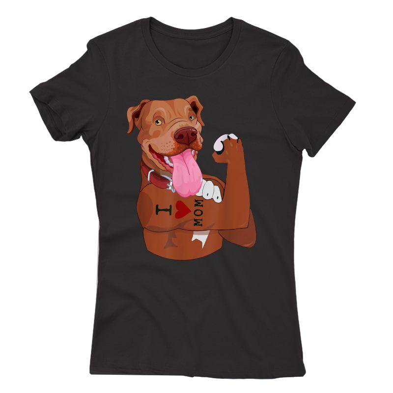 Dog Pitbull I Love Mom Tattoo Funny Pitbull Mom Gift T-shirt