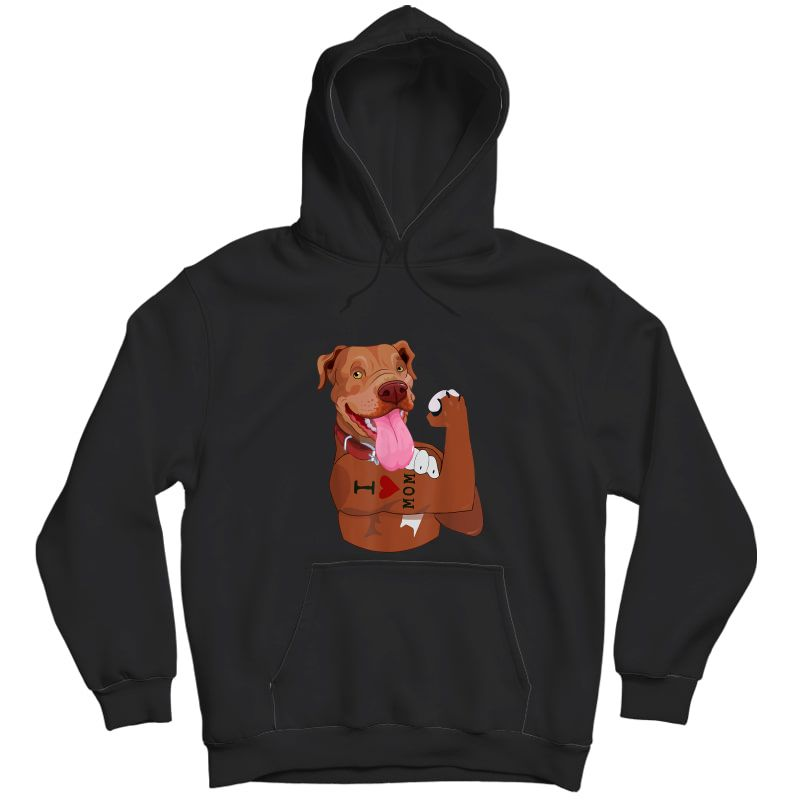 Dog Pitbull I Love Mom Tattoo Funny Pitbull Mom Gift T-shirt Unisex Pullover Hoodie