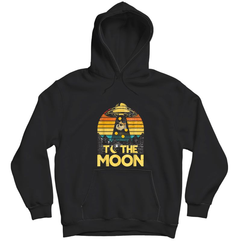 Dogecoin Ufo To The Moon Distressed Rich Dog In Shades Meme T-shirt Unisex Pullover Hoodie