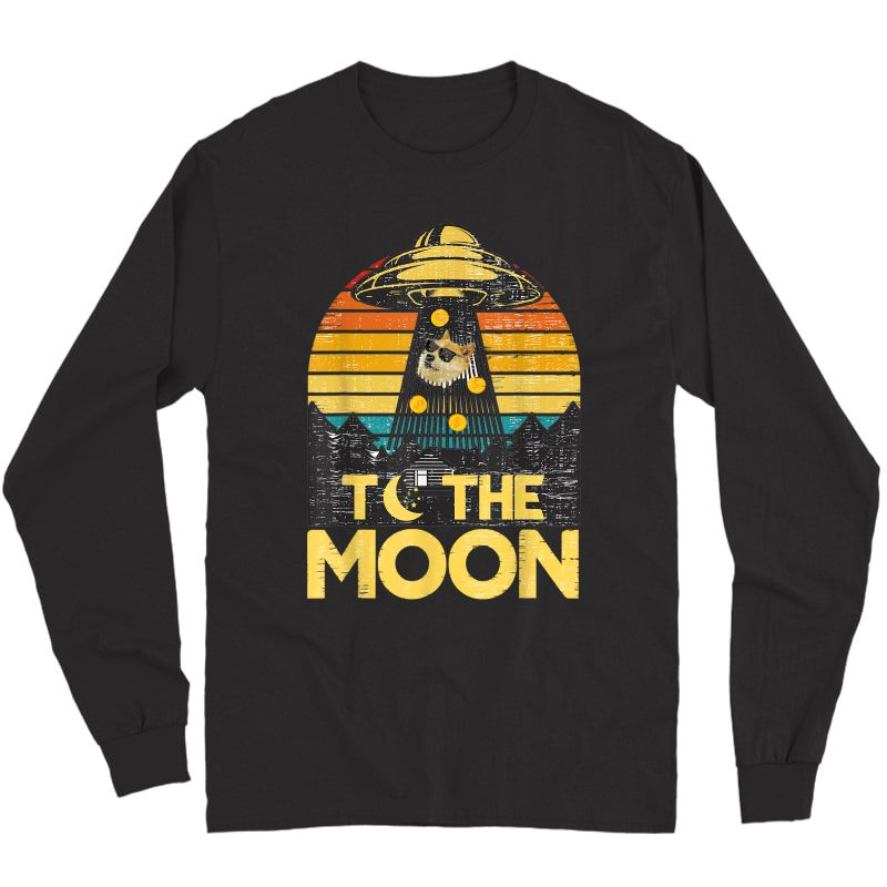 Dogecoin Ufo To The Moon Distressed Rich Dog In Shades Meme T-shirt Long Sleeve T-shirt