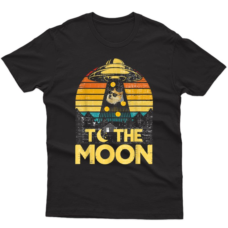 Dogecoin Ufo To The Moon Distressed Rich Dog In Shades Meme T-shirt