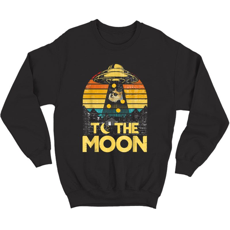 Dogecoin Ufo To The Moon Distressed Rich Dog In Shades Meme T-shirt Crewneck Sweater