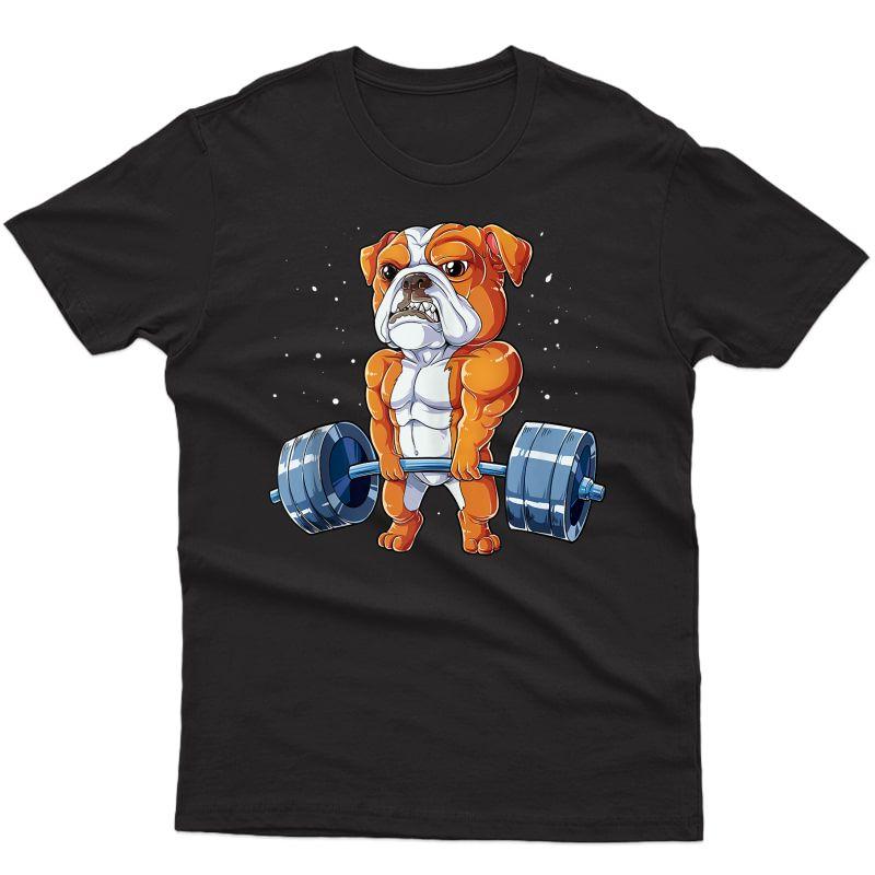 English Bulldog Weightlifting Funny Deadlift Ness Gym Tank Top Shirts