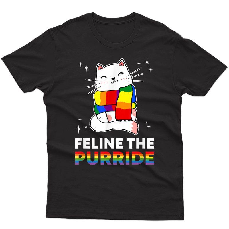Feline The Purride Cat Lgbtq Ally Gay Lesbian Pride Rainbow T-shirt
