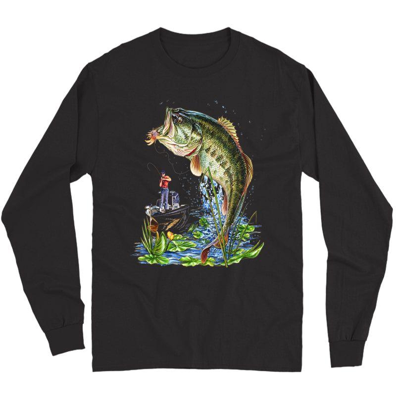 Fishing Graphic T-shirt Mouth Bass Fish Gift T-shirt Long Sleeve T-shirt