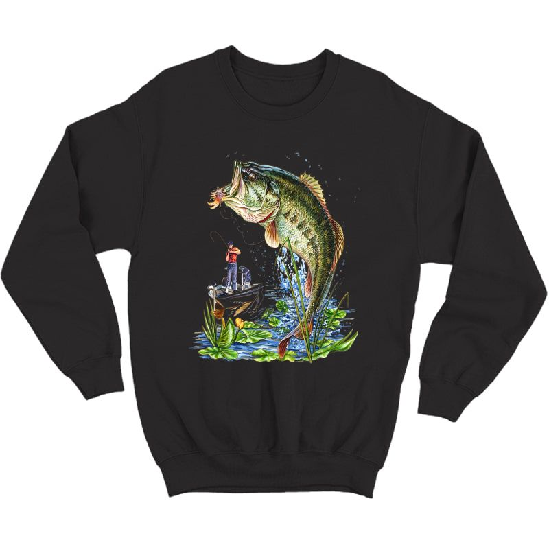 Fishing Graphic T-shirt Mouth Bass Fish Gift T-shirt Crewneck Sweater