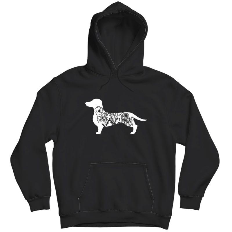 Floral Daschund Dog Floral Dog For Daschund Mom T-shirt Unisex Pullover Hoodie