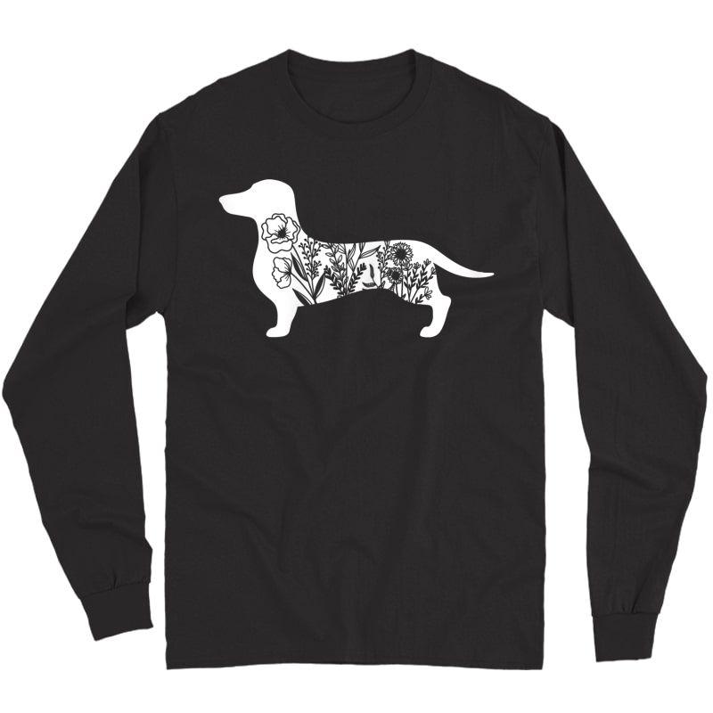 Floral Daschund Dog Floral Dog For Daschund Mom T-shirt Long Sleeve T-shirt