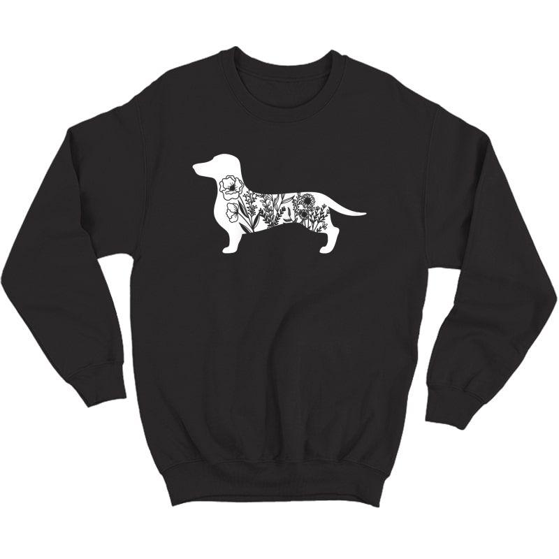 Floral Daschund Dog Floral Dog For Daschund Mom T-shirt Crewneck Sweater