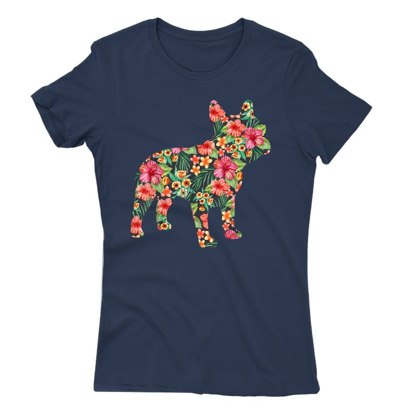 French Bulldog Flower T Shirt Floral Frenchie Dog Silhouette