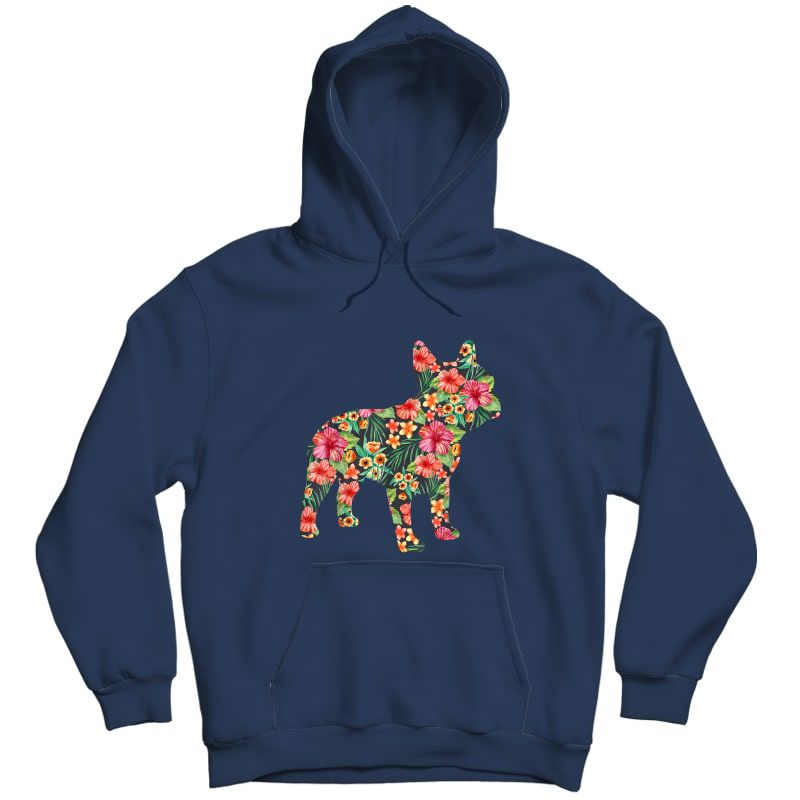 French Bulldog Flower T Shirt Floral Frenchie Dog Silhouette Unisex Pullover Hoodie