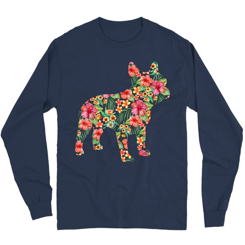 French Bulldog Flower T Shirt Floral Frenchie Dog Silhouette Long Sleeve T-shirt