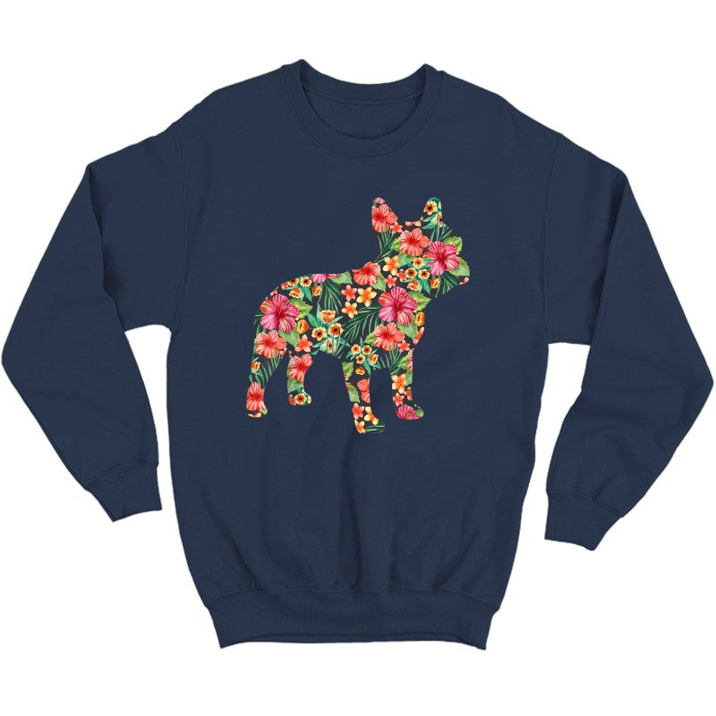 French Bulldog Flower T Shirt Floral Frenchie Dog Silhouette Crewneck Sweater