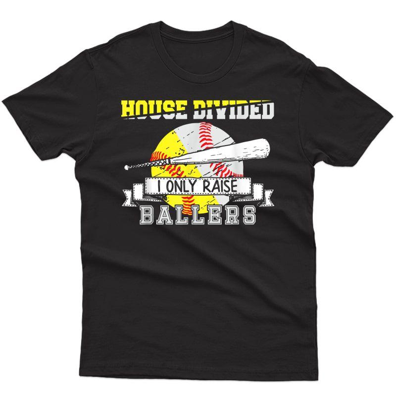 Funny Baseball Softball Divided House Ball Mom T-shirt