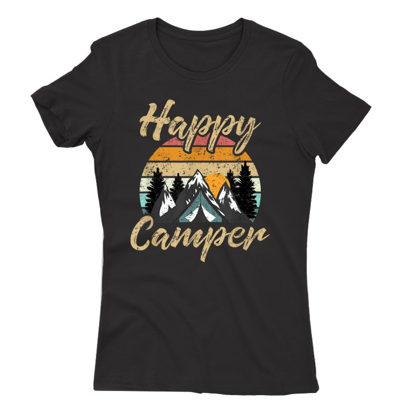 Funny Camping Hiking Lover Present Happy Camper Gift T-shirt
