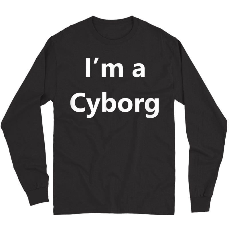 Funny Cyborg Halloween Costume Pretend Minute Lazy Easy Idea T-shirt Long Sleeve T-shirt