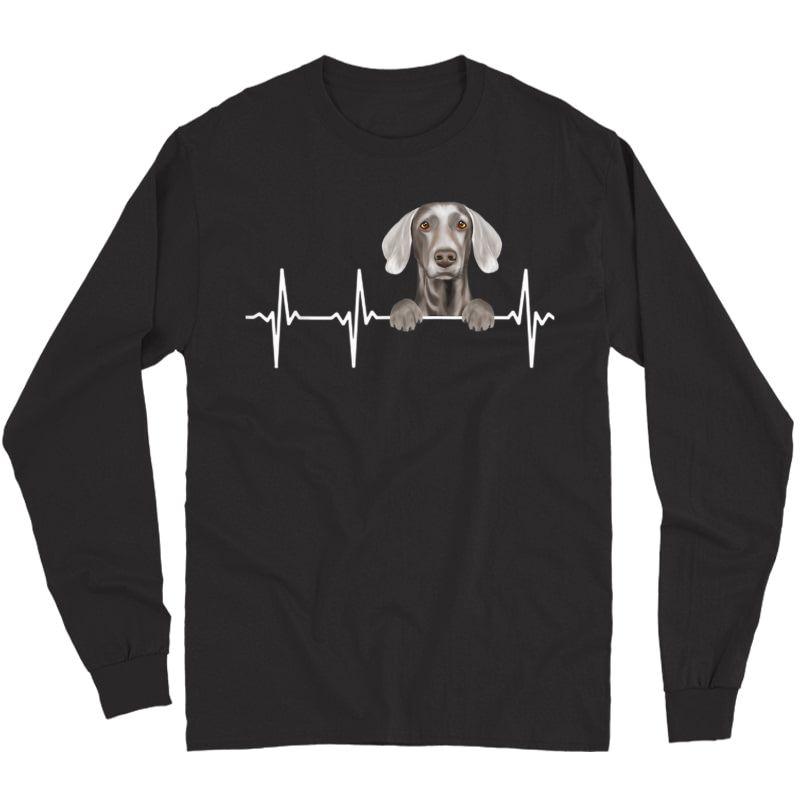 Funny Dog Heartbeat For Weimaraner Lovers T-shirt Long Sleeve T-shirt