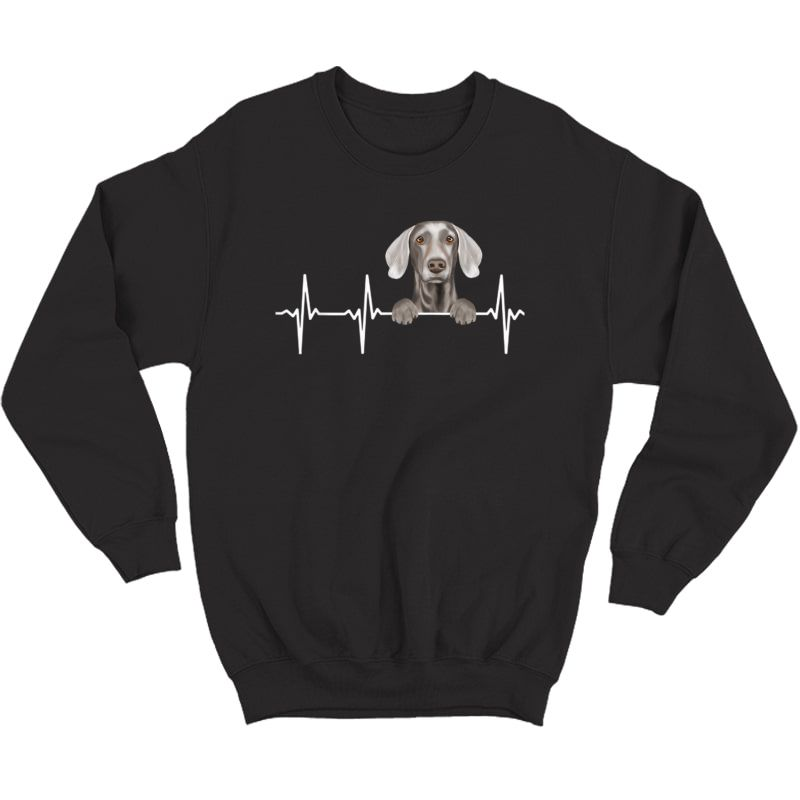 Funny Dog Heartbeat For Weimaraner Lovers T-shirt Crewneck Sweater