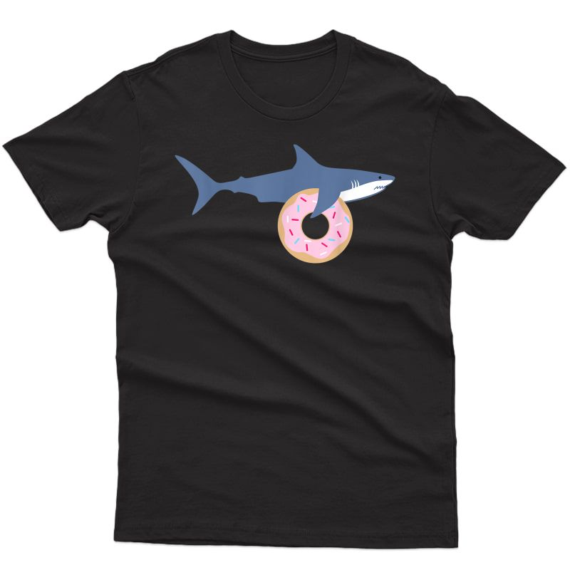 Funny Shark Carrying Donut Cute Food Gift T-shirt