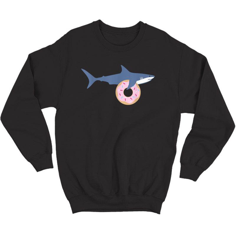 Funny Shark Carrying Donut Cute Food Gift T-shirt Crewneck Sweater