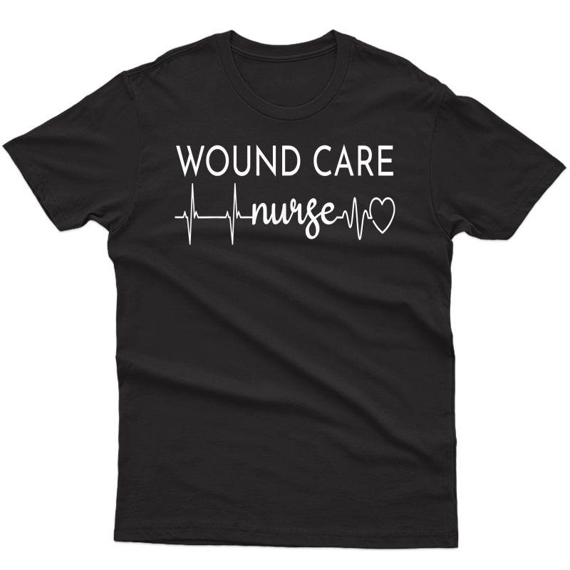 Funny Wound Care Nurse Ekg | Nursing Wound Ostomy Nurse Gift T-shirt