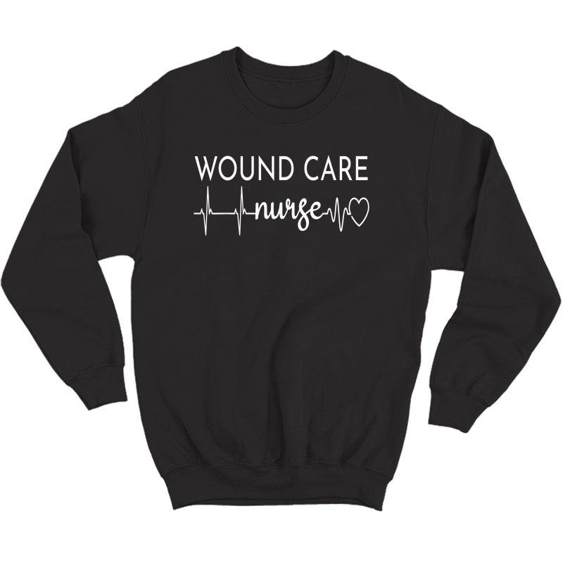 Funny Wound Care Nurse Ekg   Nursing Wound Ostomy Nurse Gift T-shirt Crewneck Sweater